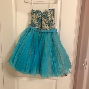 Sherri Hill 22158 Pearl and Aqua short prom dress
